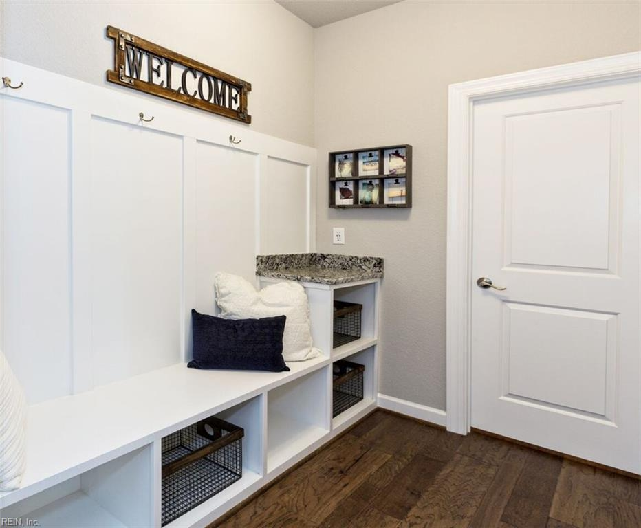 Optional built-in in mudroom adds casual charm and home organization.