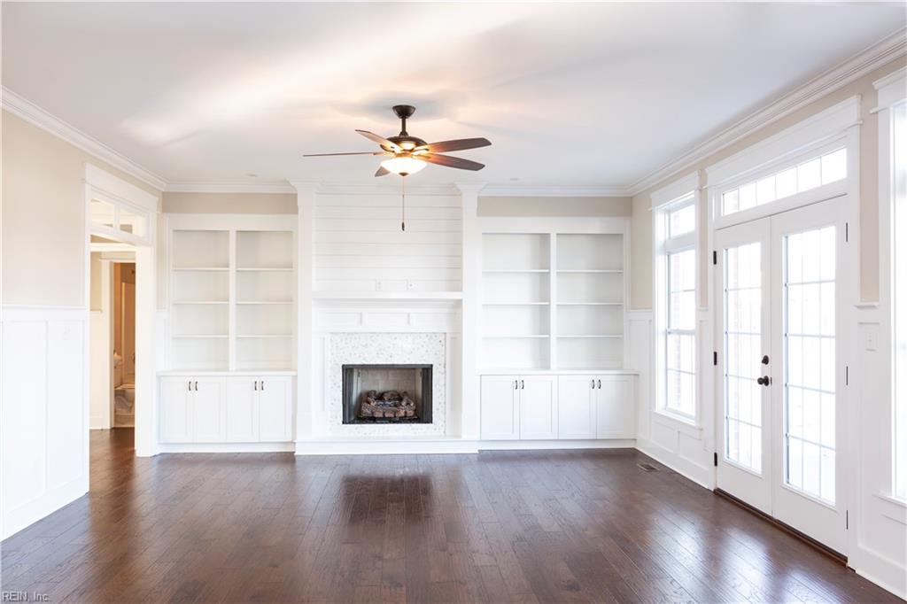 Family Room with built-ins and gas fireplace.
