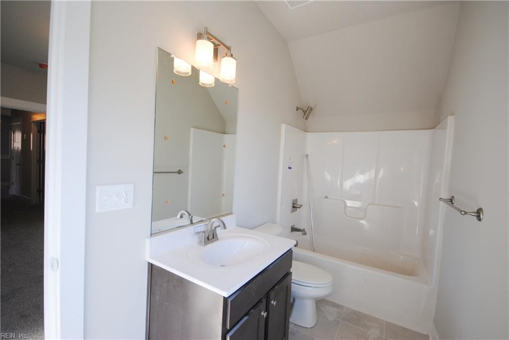 Full bath in finished room over the garage.